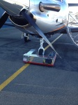 At Adelaide using the iTowbot to bring the plane into the hangar