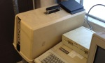 Osborne 1 'portable' computer and an Apple II
