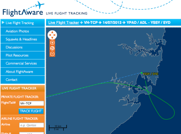 Flight path into Sydney