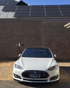Tesla with solar panels