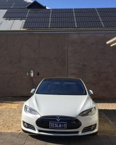 Tesla with solar panels